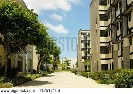 FULLERTON CALIFORNIA - 23 MAY 2020: Student Housing at California State University Fullerton, CSUF.
