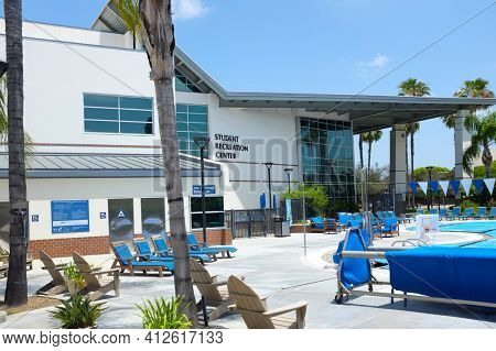 FULLERTON CALIFORNIA - 23 MAY 2020: The outdoor pool at the Student Recreation Center on the campus of California State University Fullerton, CSUF.