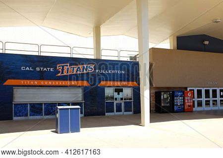 FULLERTON CALIFORNIA - 22 MAY 2020: Titan Gym Ticket Booth and Concession stand on the campus of California State University Fullerton, CSUF.