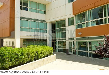 FULLERTON CALIFORNIA - 23 MAY 2020: Gordon Hall, formerly University Hall, was renamed in honor of Milton A Gordon, the 5th and longest serving president of the university.