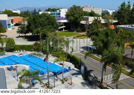 FULLERTON CALIFORNIA - 22 MAY 2020: Pool outside the Student Recreation Center on the campus of California State University Fullerton, CSUF.