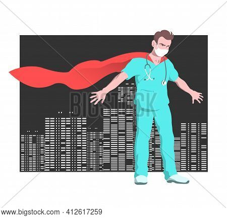 A Male Doctor Superhero In A Mask Protects The City From Danger. Stands Against The Backdrop Of Skys
