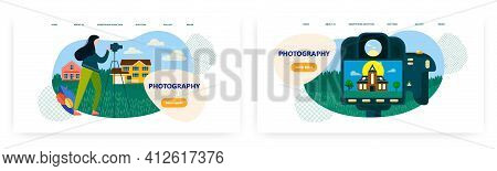 Photography Landing Page Design, Website Banner Vector Template Set. Photography Classes, Courses, S