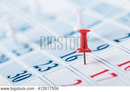 Calendar Page For 2021, A Month Marked With An Important Date With A Pin. Chronology, Time, Concept