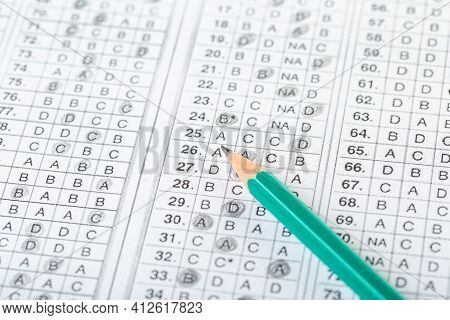 Testing In Exercise And Exam Paper. Computer Sheet With Pencil In School Test Room, Education Concep