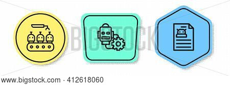 Set Line Industrial Production Of Robots, Robot Setting And Technical Specification. Colored Shapes.