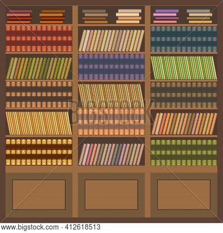 Vintage Bookcase. Retro Brown Bookcase With Books. Vector.