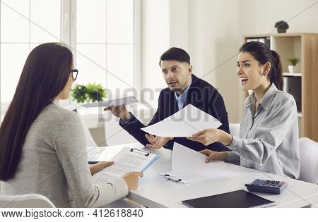 Angry Clients Arguing With Bank Manager And Complaining About Bad Contract Terms