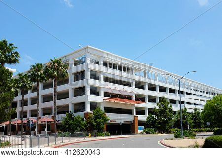 FULLERTON CALIFORNIA - 23 MAY 2020: Eastside Parking Structure on the campus of California State University Fullerton, CSUF.
