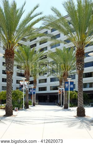 FULLERTON CALIFORNIA - 23 MAY 2020: Entrance to College Park, home of the College of Communications and College of Education at California State University Fullerton, CSUF.