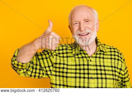 Photo Of Old Man Happy Positive Smile Show Thumb-up Like Cool Fine Recommend Advert Advise Isolated