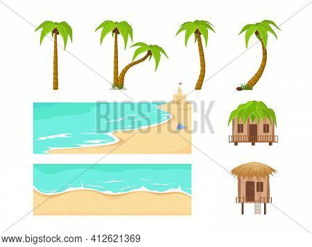 Beach Landscape Constructor. Sandy Beaches, Tropical Palms, Mountains And Hills. Vector Illustration