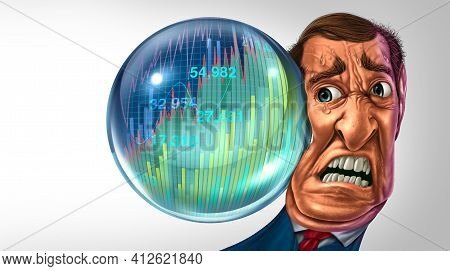 Economic Bubble Danger And Financial Burst Or As A Stock Market Business Speculation With A Business