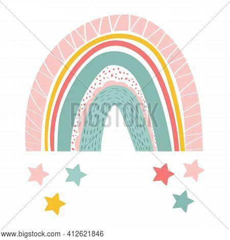Vector Illustration Of Cute Colorful Rainbow In Scandinavian Style. Isolated Rainbow With Stars For