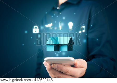 Smart Home, Intelligent House, And Home Automation App Security Concept. Smart Home App On Smart Pho