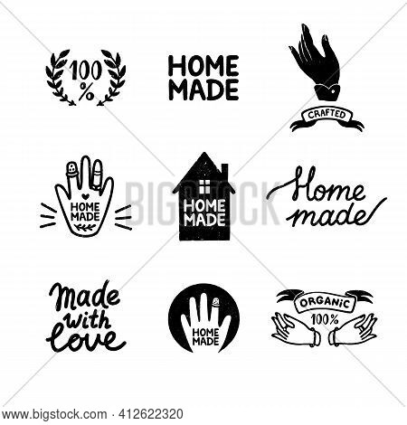 Homemade Stamp Logos Set - Vintage Icons In Stamp Style, Home Made Lettering With Cute House And Han