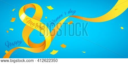 Background Template For International Womens Day. Horizontal Greeting Card Template. Vector Illustra