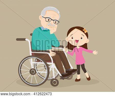 Elderly Are Sad, The Child Consoling, Sad Elderly Man Bored, Girl Consoling Senior Man Sitting Alone