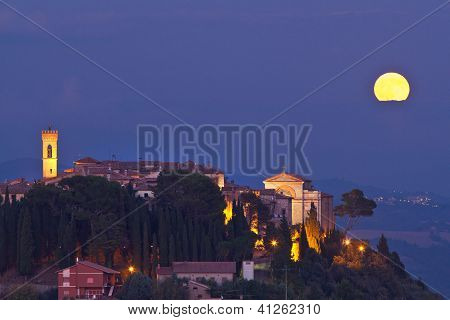 Moon over MonteCastello di Vibio, Italy