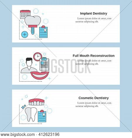 Dental Services. Implant Dentistry, Full Mouth Reconstruction, Cosmetic Dentistry. Vector Template F
