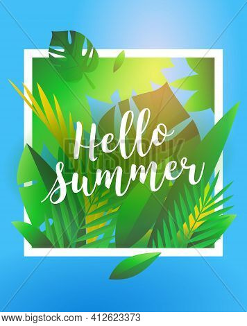 Hello Summer Holiday And Summer Camp Poster. Traveling Template Summer Poster, Vector Illustration.