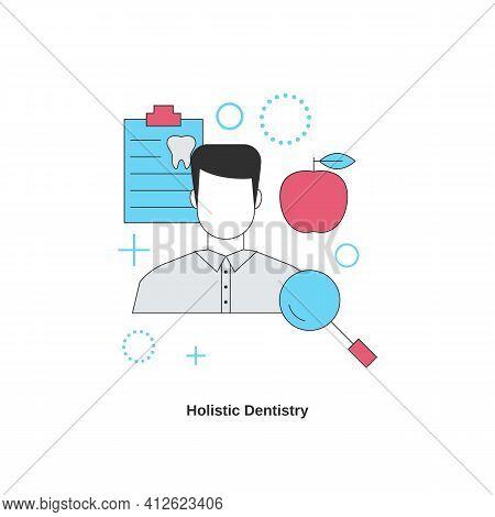 Dental Services Concept. Holistic Dentistry. Vector Illustration.