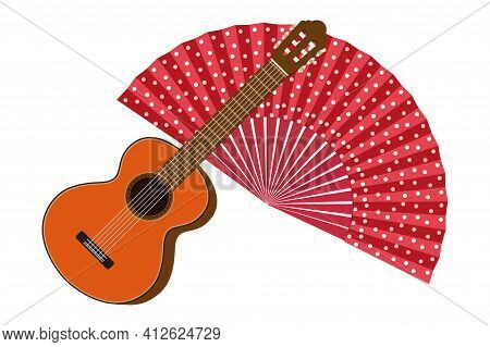 Classic Spanish Guitar And Handheld Fan Isolated On White Background. Spanish Culture. Flat Vector I