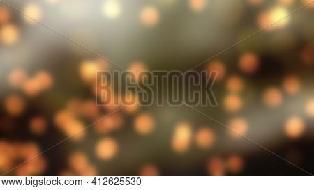 Abstract Concept Of Orange Dots Light Over Universe With Bokeh Illustration. Fit For Your Background