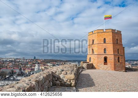 Vilnius, Lithuania - March 15 2021: Gediminas Tower Or Castle, The Remaining Part Of The Upper Medie