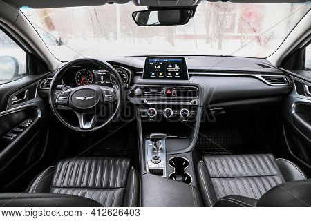 Moscow, Russia - January 24, 2021: Interior Of The Compact Saloon Car Genesis G70.