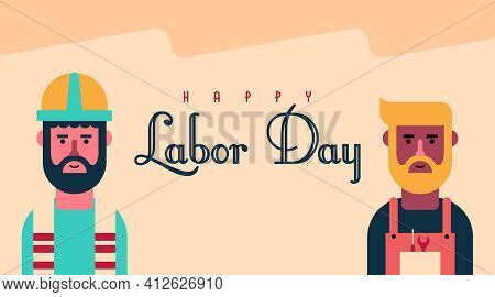 Happy International Labor Day Illustration With Labor Chartoon Character Vector.