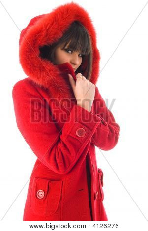 The Beautiful Young Girl In A Red Coat