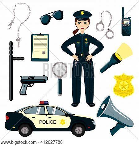 Policeman Kid Set. Cartoon Character Policeman. Set Of Cartoon Professions. Gun, Radio And Police Ba