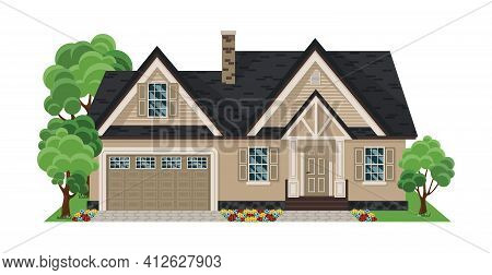 House Front View. Flat Design Houses Set Isolated On White Background. Home Facade With Doors And Wi