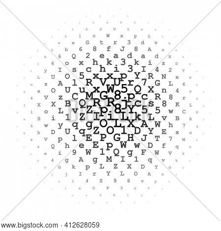 Halftone circle made of black letters and digits on white background illustration
