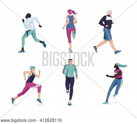 Running People Flat Vector Illustration. Multiracial Runners, Athletes, Sportive Men And Women Carto