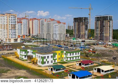 New Kindergarten In The Microdistrict Under Construction. Construction Of A Kindergarten In A New Ne