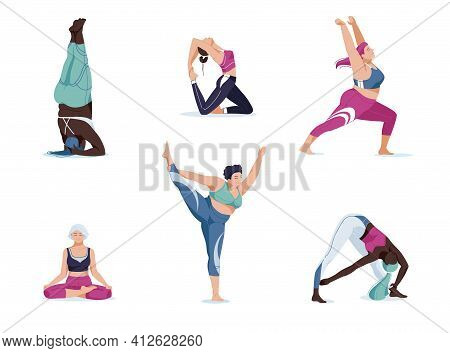Yoga Set With Women In Different Poses. Vector Cartoon Illustration In Modern Concept Of Yoga Exerci