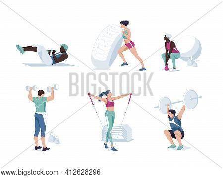 Set Od Different Cartoon People Exercising At Modern Gym Vector Flat Illustration. Athletic Man And