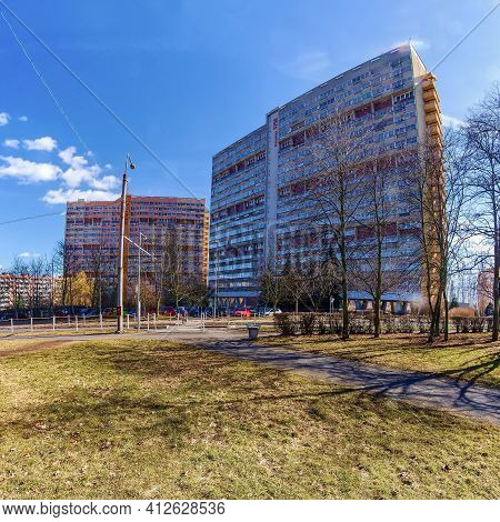 Chomutov, Czech Republic - March 06, 2021: Experimenty Houses During Spring Sunny Weather