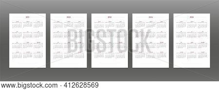 2021 2022 2023 2024 2025 Calendar Set In Classic Strict Style. Wall Table Calendar Schedule, Minimal
