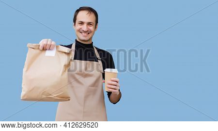Smart Food Delivery Service Man Handing Fresh Food To Recipient. Courier At Home, Express Delivery,