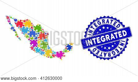 Bright Colored Mexico Mosaic Map Combined With Puzzle Piece Items, And Integrated Grunge Stamp. Vect