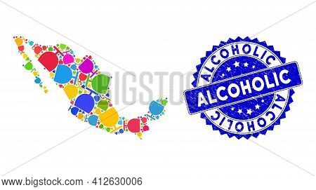 Colorful Mexico Collage Map Combined Of Glass Elements, And Alcoholic Textured Seal Stamp. Vector Gl