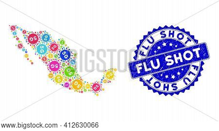 Multicolored Mexican Collage Map Created Of 5g Covid Virus Items, And Flu Shot Scratched Watermark.