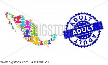 Colorful Mexico Mosaic Map Combined With Farmer Person Elements, And Adult Distress Watermark. Vecto