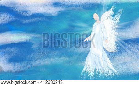 Archangel. Heavenly Angelic Spirit With Wings. Hand Draw Illustration Abstract Angel. Belief. Afterl