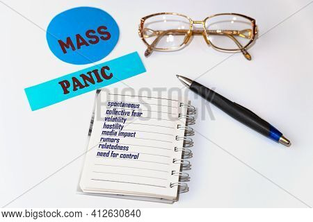 Mass Panic. Signs And Accessories In The Form Of A List On A Sheet Of Notepad. Spontaneous, Collecti