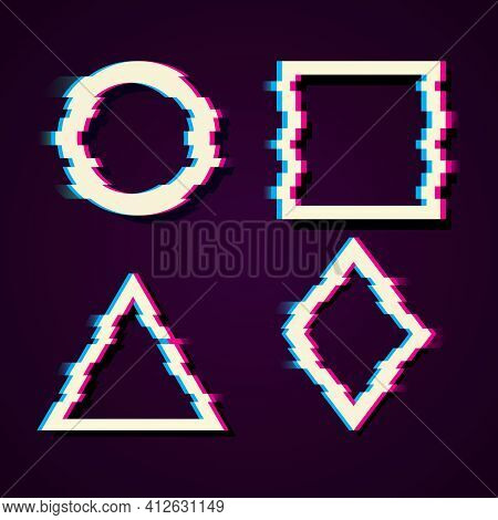 Vector Set Of Frames In Distorted Glitch Style. Circle, Square, Triangle, Rhombus In Distorted Glitc