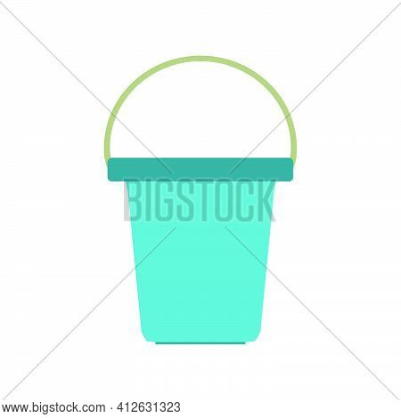 Bucket Water Vector Illustration Clean Container Equipment. Isolated Handle Bucket Icon Empty Can Ob